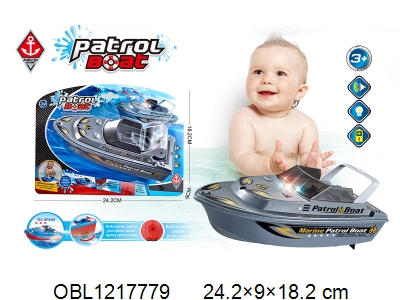 OBL1217779 - Electric patrol boat with lights, music, 3AA without power package