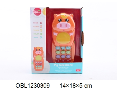 OBL1230309 - Pig mobile phone with light and sound 2 * AAA without power package