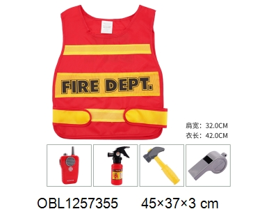 OBL1257355 - Fire vest suit walkie talkie with music 2 * AA without power pack