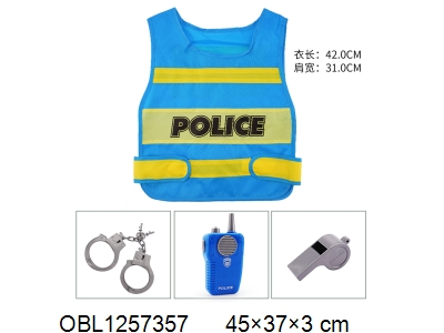 OBL1257357 - Police vest suit walkie talkie with music 2 * AA without power pack