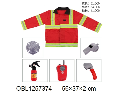 OBL1257374 - Fire suit walkie talkie with music 2 * AA without power pack