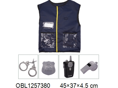 OBL1257380 - Police vest suit walkie talkie with music 2 * AA without power pack