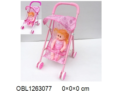 OBL1263077 - Iron dolls trolley with 12 inch empty doll clothes 1 style and 1 color