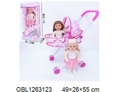 OBL1263123 - Iron dolly cart with 14 inch empty doll clothes 1 style and 1 color